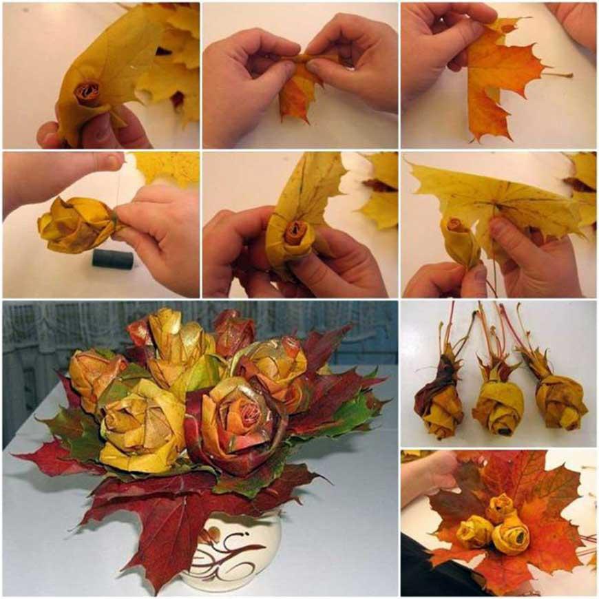 букет цветов из листьев