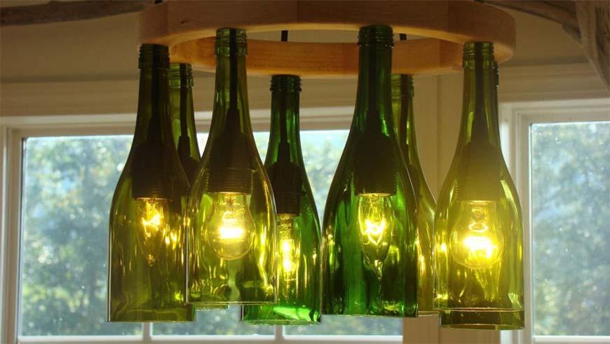 фонарики из стекланых бутылок