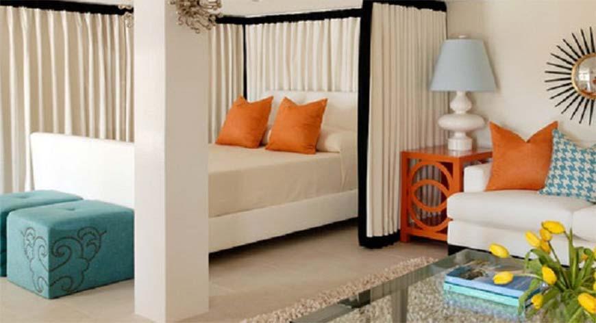 использование шторок в однокомнатной квартире
