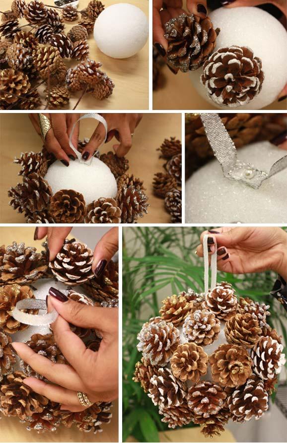 изготовление шара для шишек
