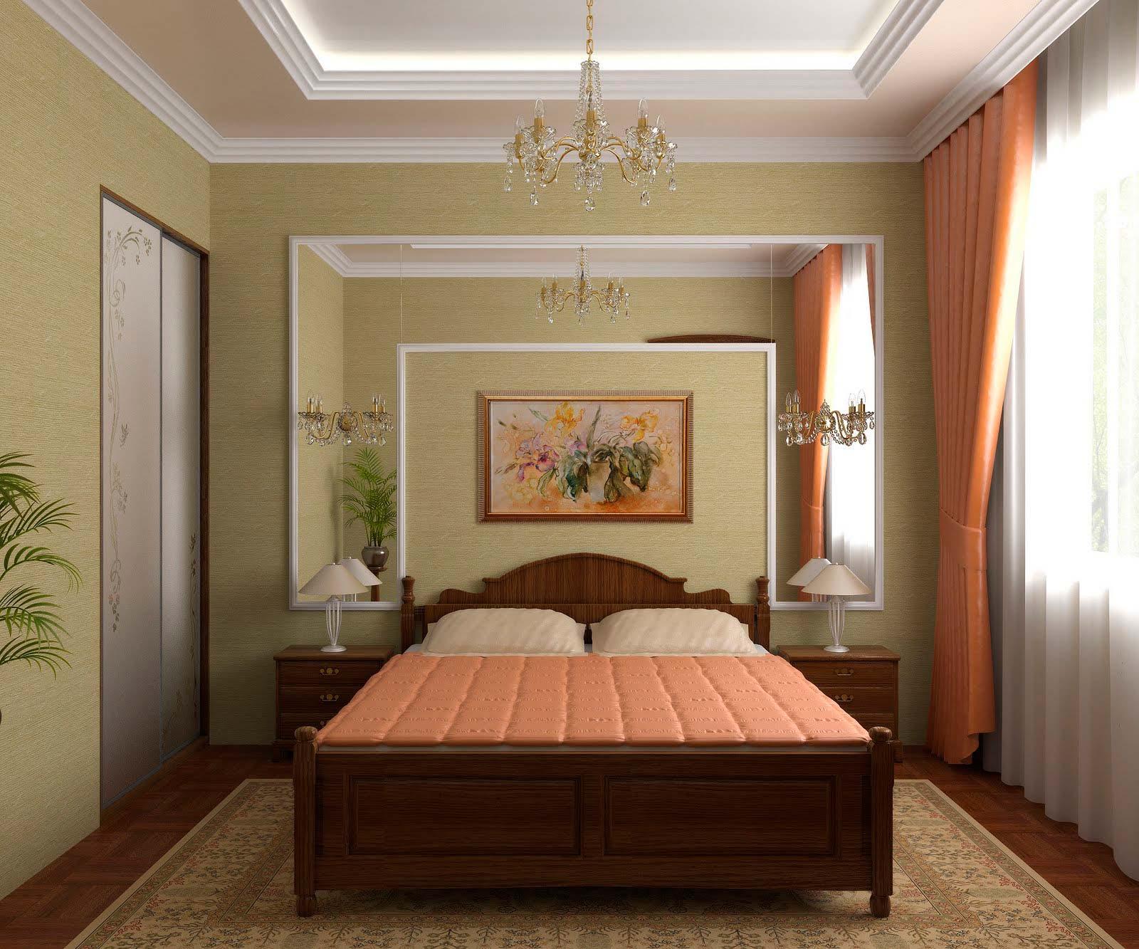 Дизайн потолки в спальне классика