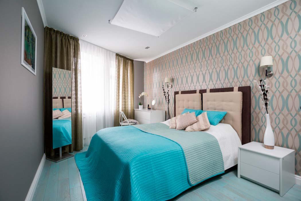 Дизайн спальни 12 кв.м в современном стиле для девушки