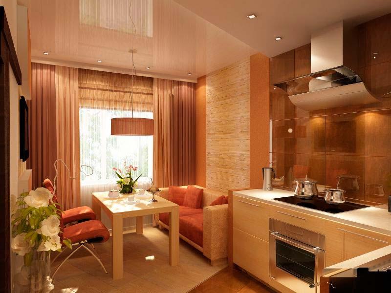 Интерьер кухни 13 кв.м фото с диваном