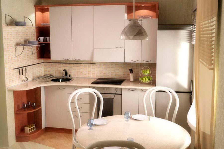 Дизайн кухни 6 метров с холодильником в кирпичном доме