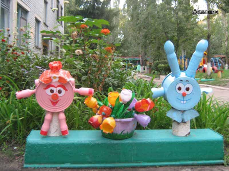 Поделки для участка детского сада летом