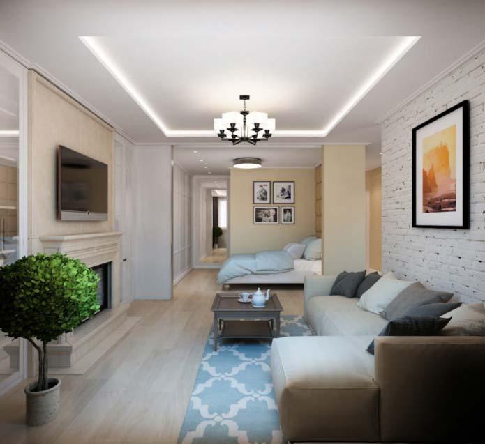 Дизайн интерьера однокомнатной квартиры 50 кв м