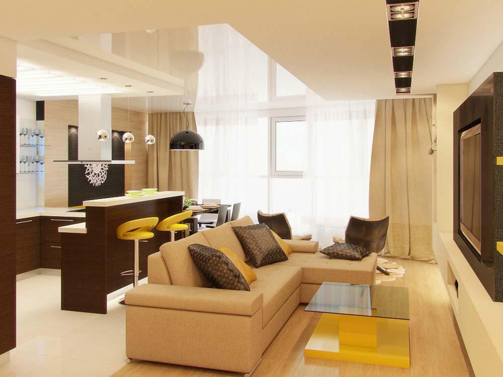 Дизайн проекта комнат с гостиной кухней