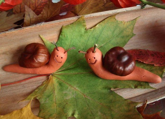 Поделка из каштанов  на тему осень фото