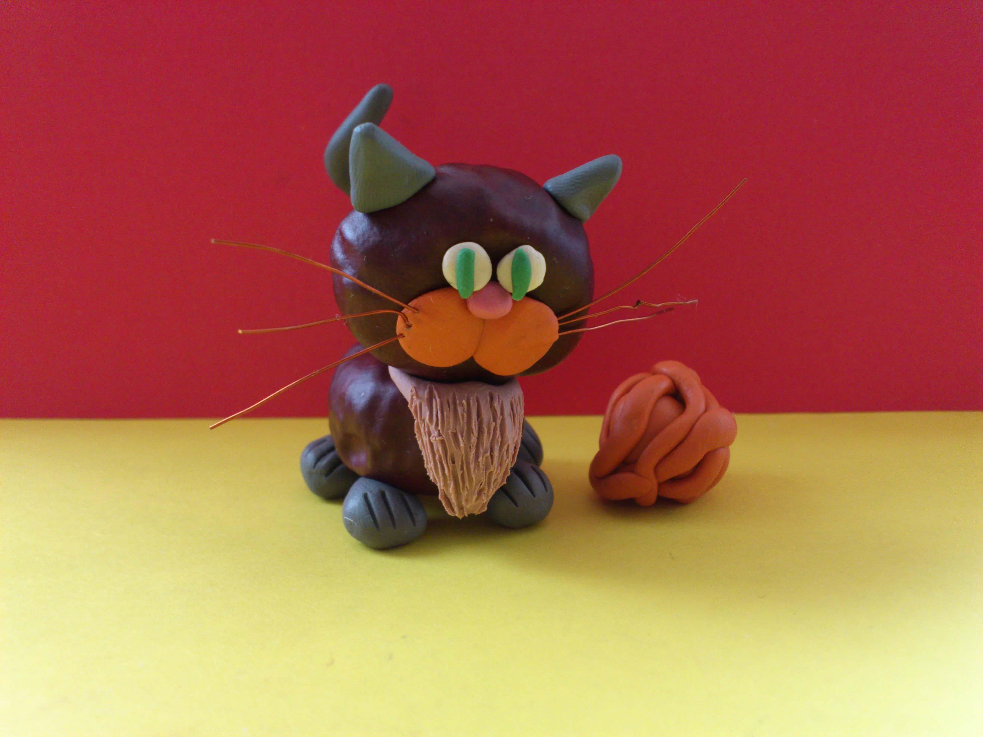 Поделка кошка из разных материалов 39