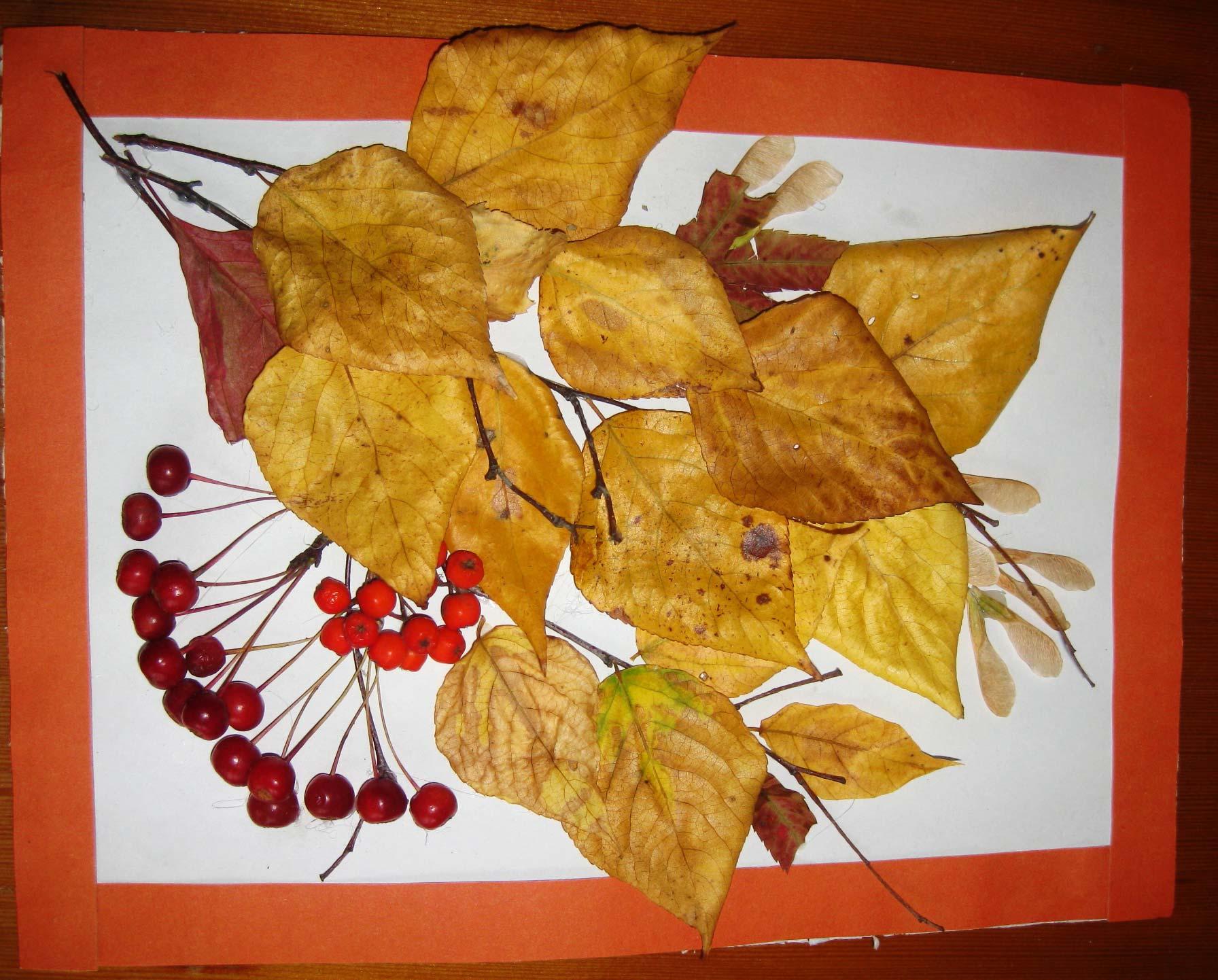 Осенние поделки в садик с листьями