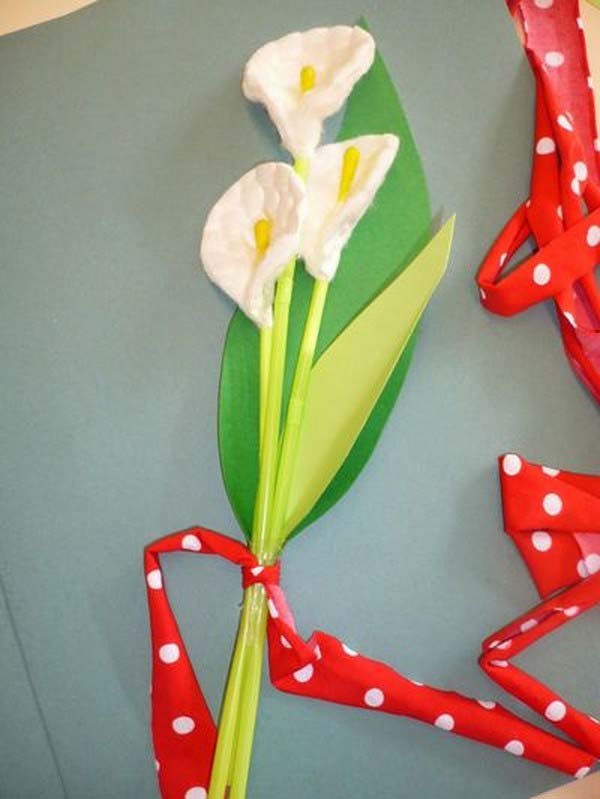 Поделки цветы из ватных дисков