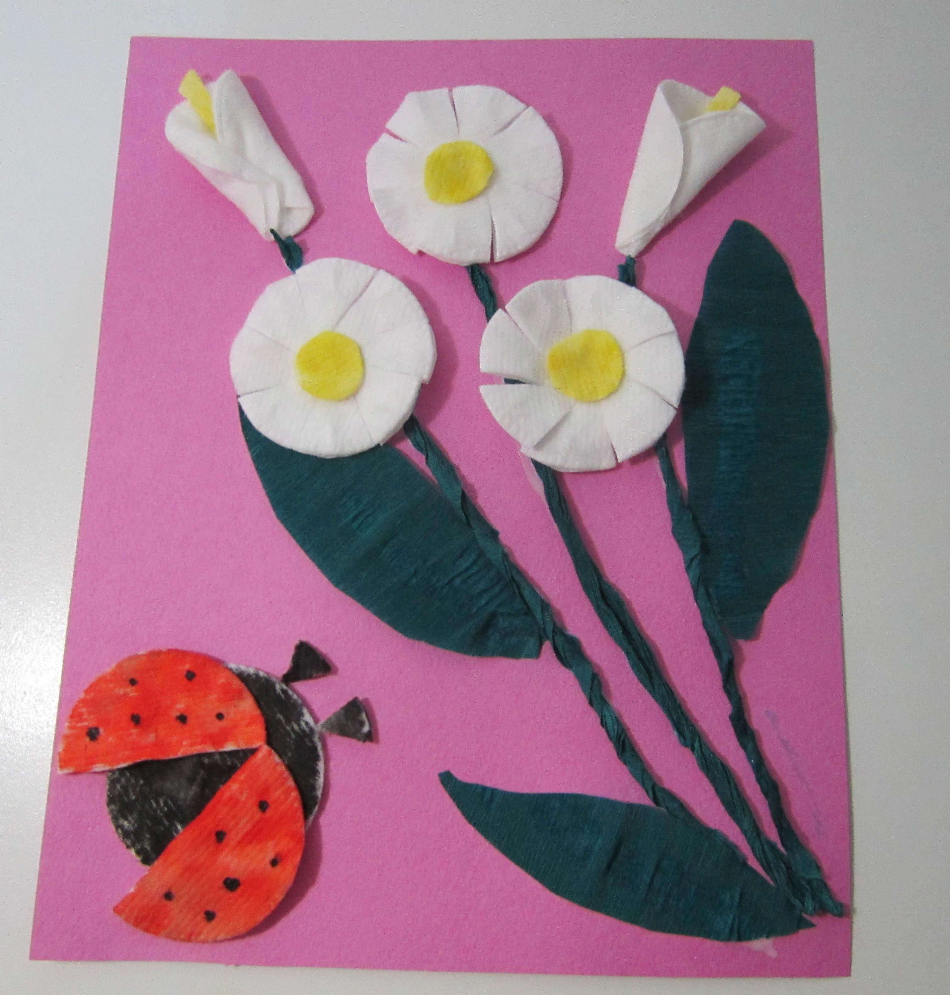 Цветы для мамы своими руками из ватных дисков 70