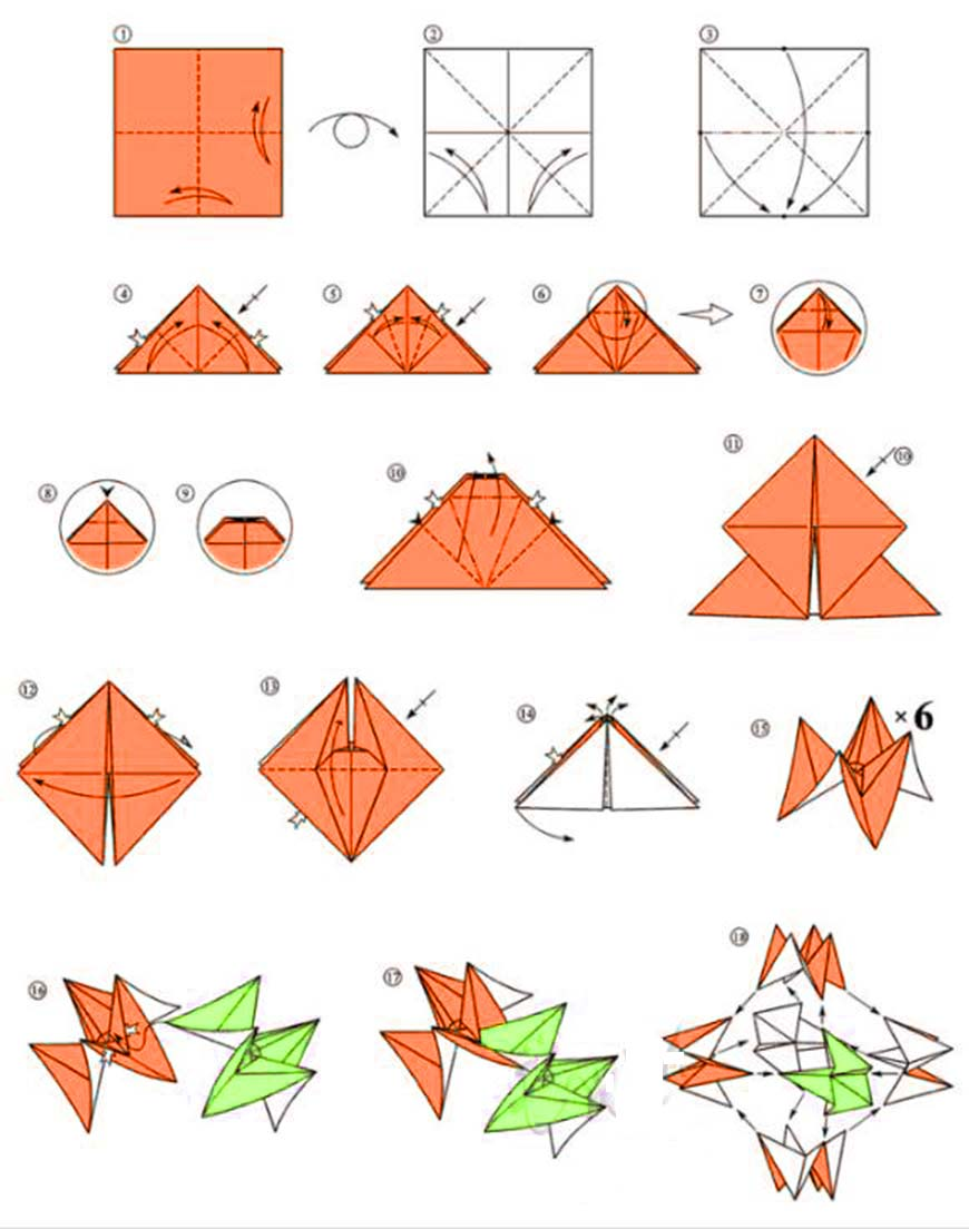 шар из бумаги оригами схема