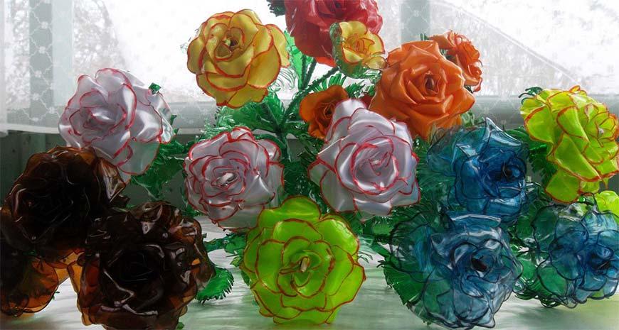 розы из пластика