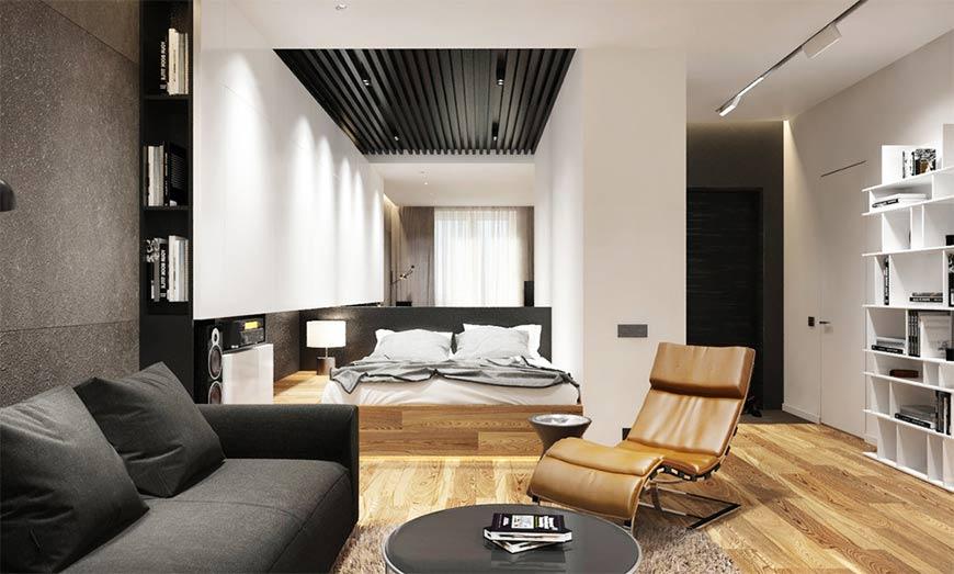 совмещенная спальня и зал