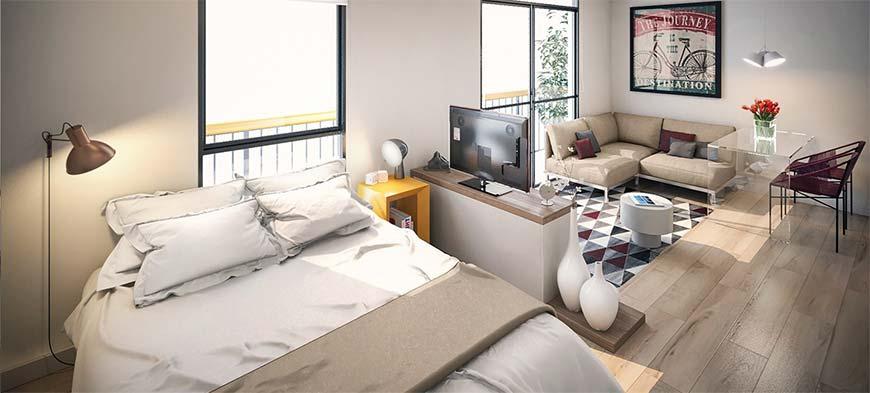спальная зона с зоной отдыха