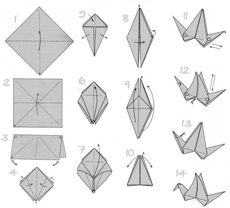 журавль из оригами
